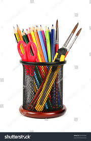 colorful pencils pencil cup isolated on stock photo 84497896