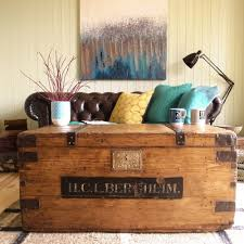 antique victorian pine military campaign trunk chest industrial