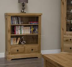 deluxe solid oak 2 drawer low bookcase furniture4yourhome