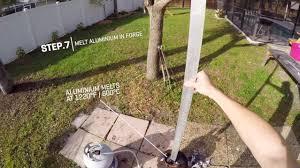 backyard scientist creates flaming sword plays fruit ninja in