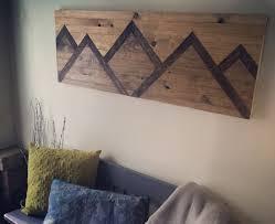 wood wall mountain range