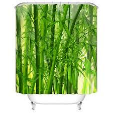 Bamboo Print Shower Curtain 3d Digital Green Bamboo Print Shower Curtain Waterproof Polyester