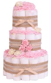 vintage shabby chic rose pink baby nappy cake hamper gift vinrp