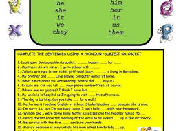 object pronoun worksheet abitlikethis subject and object pronouns