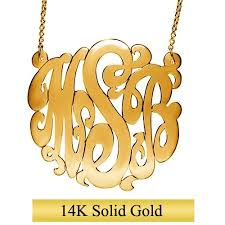 gold monogram necklace 14k solid gold monogram necklace 23mm approx 1 inches initial