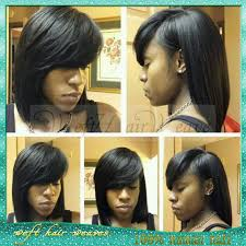 short pressed hairstyles short side part bob sew in