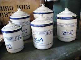Antique Canisters Kitchen Dark Blue Canister Set Off White Canister Mason Jar Set Of 4