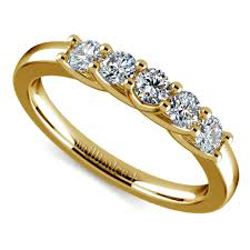trellis five diamond wedding ring in yellow gold