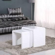 white modern side table minifair white high gloss nest of 2 tables set of 2 nesting