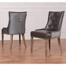 Leather Dining Chairs Design Ideas Picturesque Grey Leather Velvet Dining Chair Nailhead Chairs On