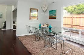 silverado chrome 47 round dining table cb2 silverado dining table with ikea tobias chairs staged interiors