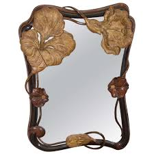 superb art nouveau french carved and gilded wood wall mirror with