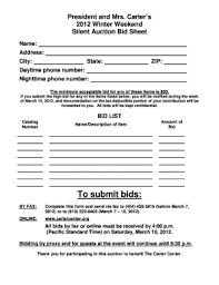silent auction bid sheets fill online printable fillable