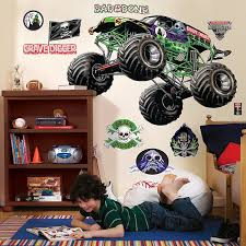 monster jam truck theme songs amazon com monster jam room decor grave digger giant wall