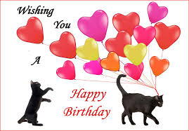 cat birthday card black cats and balloons cat lover