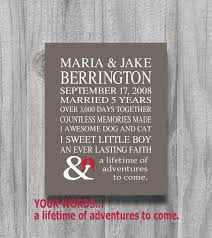10 year anniversary gift ideas for husband personalized anniversary gift 5 or 10 year our story gift for