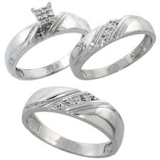 titanium wedding ring sets for him and trio ring sets