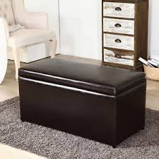 contemporary brown 3 piece leather tray top nested storage ottoman