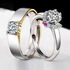engagement rings for couples 925 silver plated white gold beautifully wedding engagement