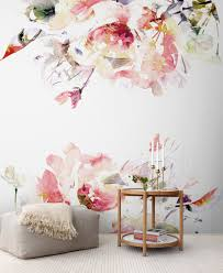 Temporary Wallpaper Uk Spring Floral Removable Wallpaper Watercolor Wall Mural U2013 Peel
