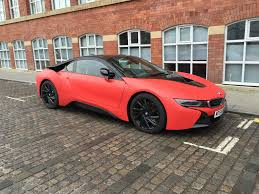 matte red bentley 2015 bmw i8 wrapped in matte red matte red color front three