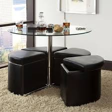 cosmo glass cocktail table w 4 ottomans standard furniture