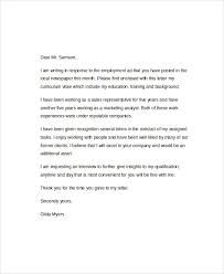 sample employment cover letter 5 documents in pdf word