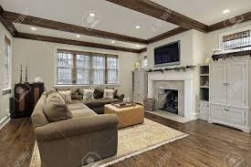 Wood Ceiling Designs Living Room by Family Room In Luxury Home With Wood Ceiling Beams Stock Photo