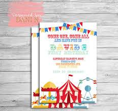 circus birthday invitation carnival party invite carrousel 1st