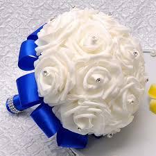 wedding flowers royal blue aliexpress buy artificial bridesmaid flowers wedding