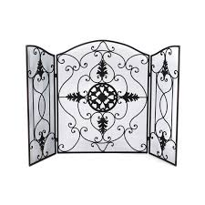 outstanding uttermost wrought iron fireplace screen design with 3