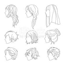 hhort haircut sketches for man hairstyle side view man and woman hair drawing set stock vector art