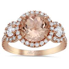 morganite gold engagement ring morganite three ring with side diamonds