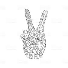 hand drawn hippie peace symbol for anti stress colouring page