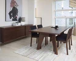 dark gray fabric seat armless chairs scandinavian dining room
