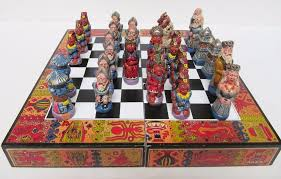 Unique Chess Pieces Aztec Chess Set Ebay