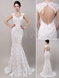 lace wedding gown mermaid sweetheart chapel open back lace wedding dress