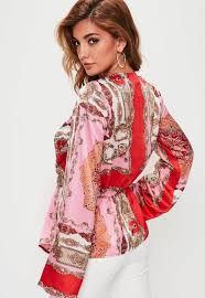 scarf blouse pink scarf print satin drape blouse missguided