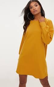 yellow sweater dress mustard oversized sweater dress dresses prettylittlething usa
