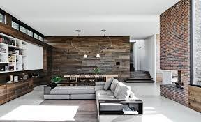 Rustic Wood Interior Walls Wood And Brick Walls Bring This Modern Interior To Life