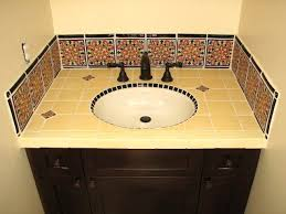 Mexican Tile Bathroom Vanity With Special  Backsplash Latin Accents - Mexican backsplash tiles