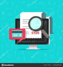 recherche ordinateur de bureau paiement en ligne d audit analyse sur illustration vectorielle