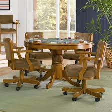 Dining Room Chairs On Casters by Amazon Com Mitchell 5 Pc Game Table Set By Coaster Table