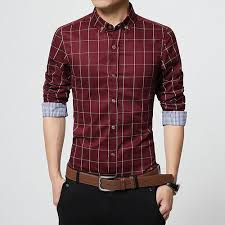 men clothes slim fit men long sleeve shirt men plaid cotton casual