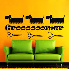 online get cheap wall stickers pet shop aliexpress com alibaba grooming salon pet shop dog scissors vinyl wall decal comb pet salon mural art wall sticker