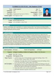 Curriculum Vitae Samples Pdf For Freshers by Sample Cv For Computer Engineer