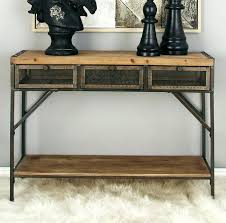 wood and metal console table with drawers wood and metal console table home design