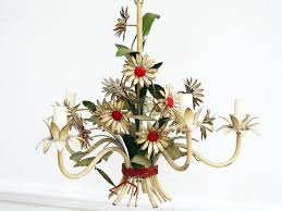 Vintage Flower Chandelier Charming 1950 U0027s French Painted Toleware Daisy Flower Chandelier