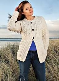 this beautiful aran ladies sweater is made from irish merino wool