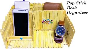 Yellow Desk Organizer Popsicle Ice Cream Stick Desk Organizer Phone Pen Watch Holder